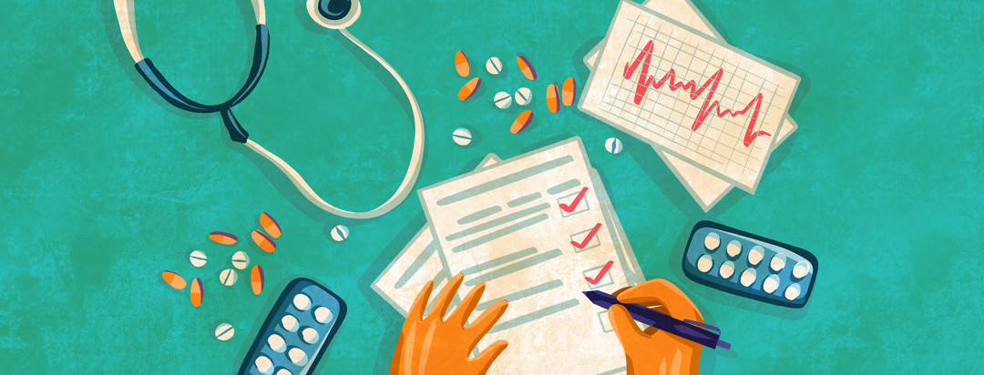 A person sits at a desk checking off symptoms on a worksheet, while other various items float on the desk including a stethoscope, medication, and a heartbeat printout.