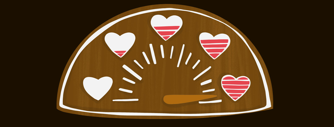 A gas gauge with different levels of fullness inside of hearts - the gauge is reading the fullest.