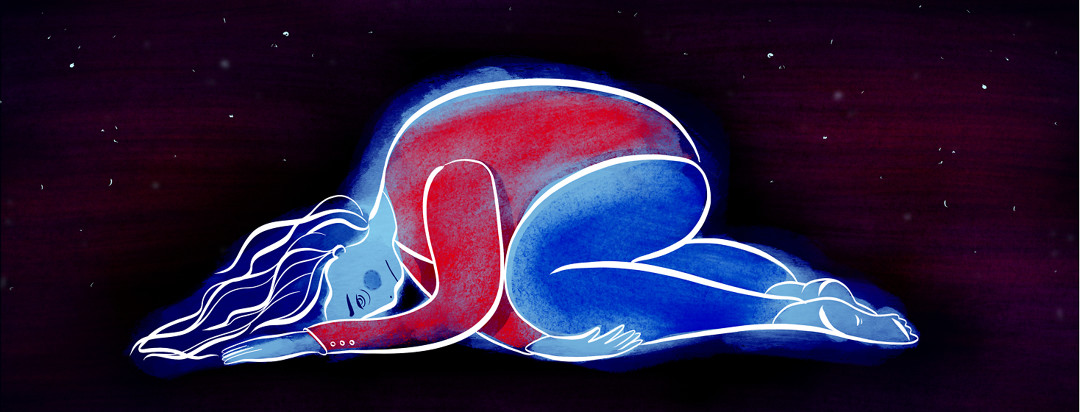 A woman with lupus nephritis lies curled up, exhausted, with a starry sky scene behind her.