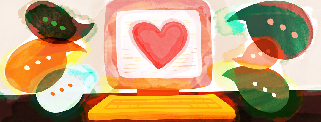 A computer screen shows a large heart while dialogue bubbles are sprouting from the screen, showing online lupus community.