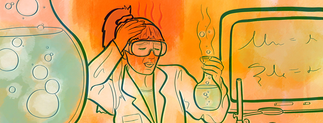 A girl is performing experiments in her chemistry class while clutching her hot head.