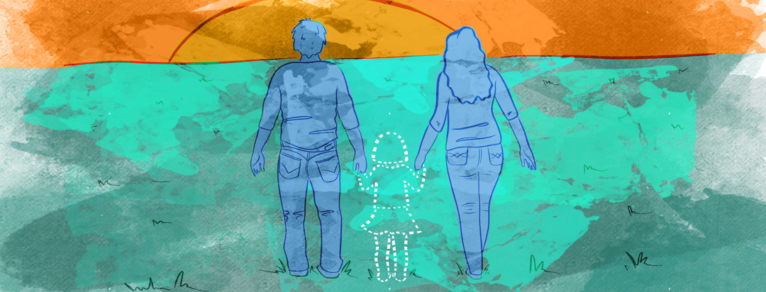 A mother with lupus and father holding hands with a child who is missing from the scene, marked by dotted lines.