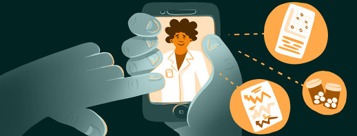 A person accepts a telehealth call on their smartphone, with the doctor pictured on the screen and certain documents and medications showing preparedness are featured in bubbles.