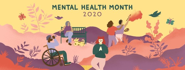 Several people do relaxing activities in a beautiful park, such as yoga, painting, and birdwatching for Mental Health Month 2020