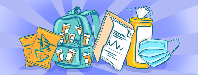 Essential travel items for people with lupus, including a backpack with medication, medical documents, disinfectant wipes, and a medical mask.