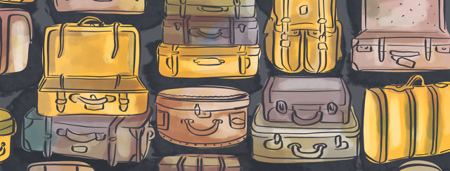 Suitcases are shown of varying sizes and colors.