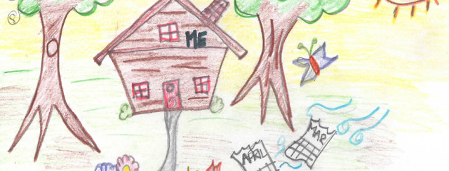 Lupus community advocate Maggie LoBue's illustration of her house that she is inside as months pass