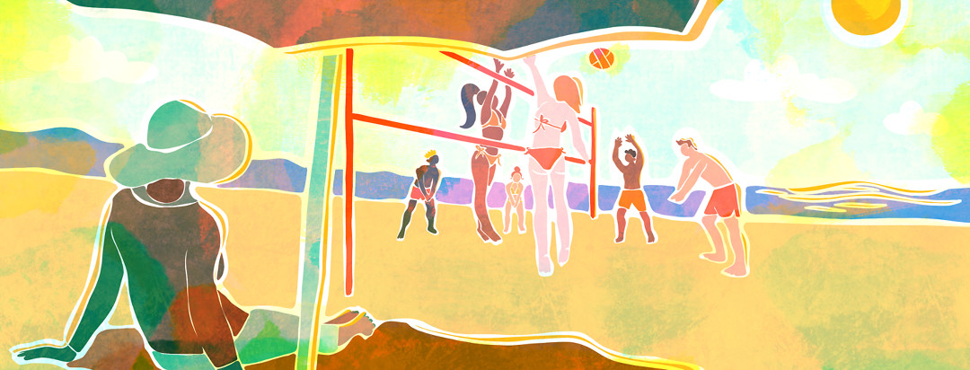 A woman with sun sensitivity and lupus sits under an umbrella with UV clothing on, watching a group of beach volleyball players have fun in the sun.