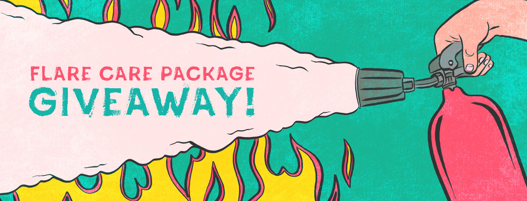 """A fire extinguisher is spraying foam into flames, and within the foam is the phrase """"Flare Care Package Giveaway!"""""""