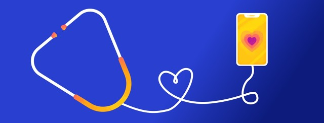 Stethoscope connected to a smartphone with the cord forming a heart.