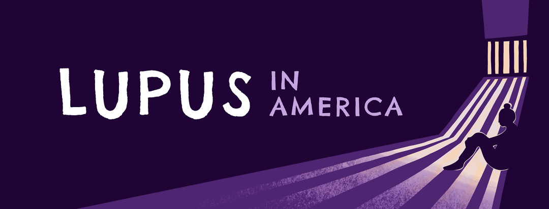 A silhouetted woman sits hunched in a dark room as cascades of light shine through a barred window. On image text reads Lupus in America.