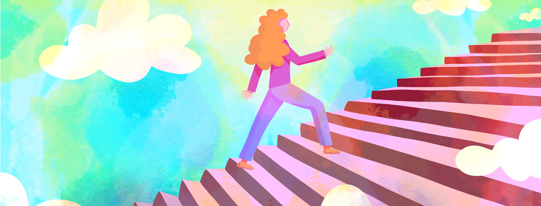 A woman with lupus confidently walking up a flight of stairs into a bright sunshine filled sky.