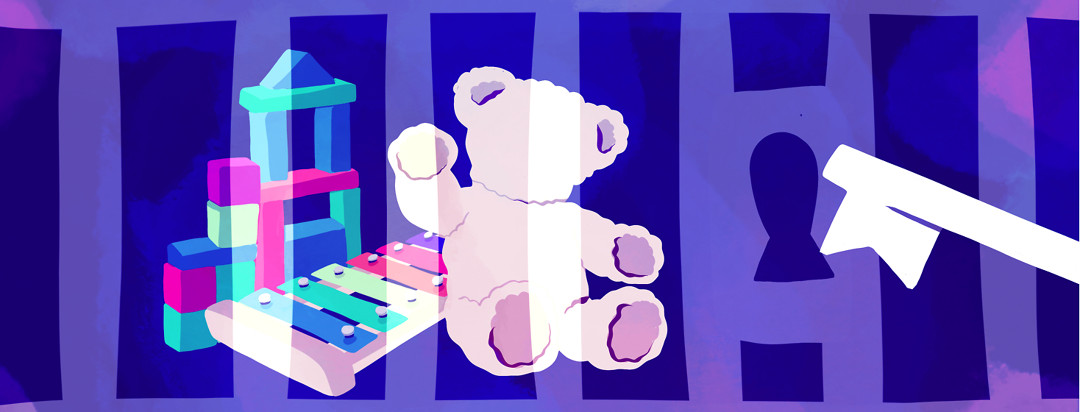 A teddy bear, blocks, and a xylophone locked in a jail cell while a key goes to unlock the padlock.