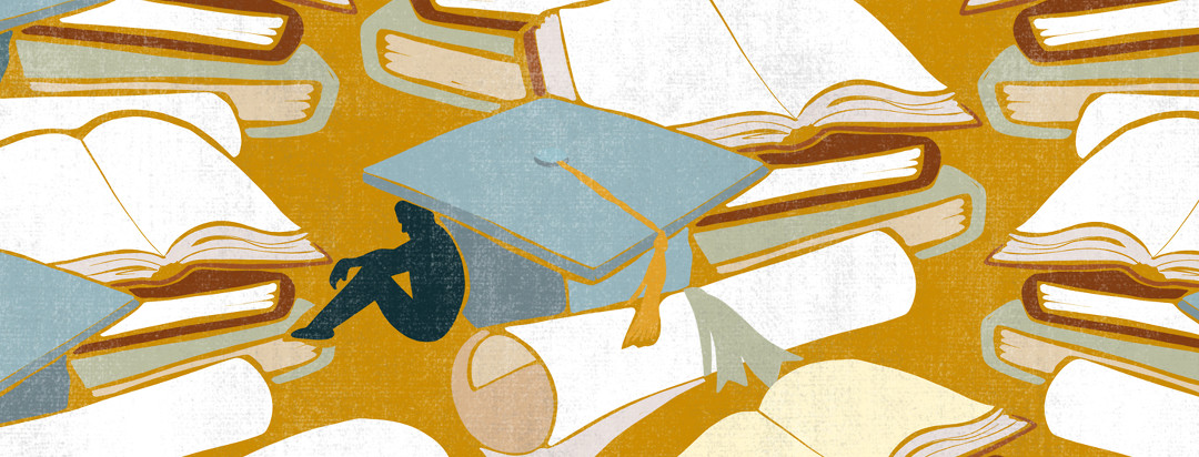 A sad male with lupus sits hunched underneath a large graduation cap, with diplomas and books scattered throughout the scene.
