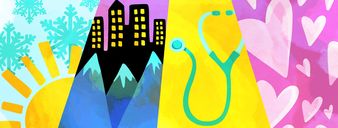 Four panels showing weather, cities and mountains, a stethoscope, and hearts.