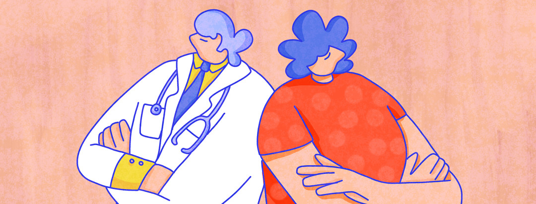 A doctor and a lupus patient are back to back with arms crossed, looking in opposite directions.