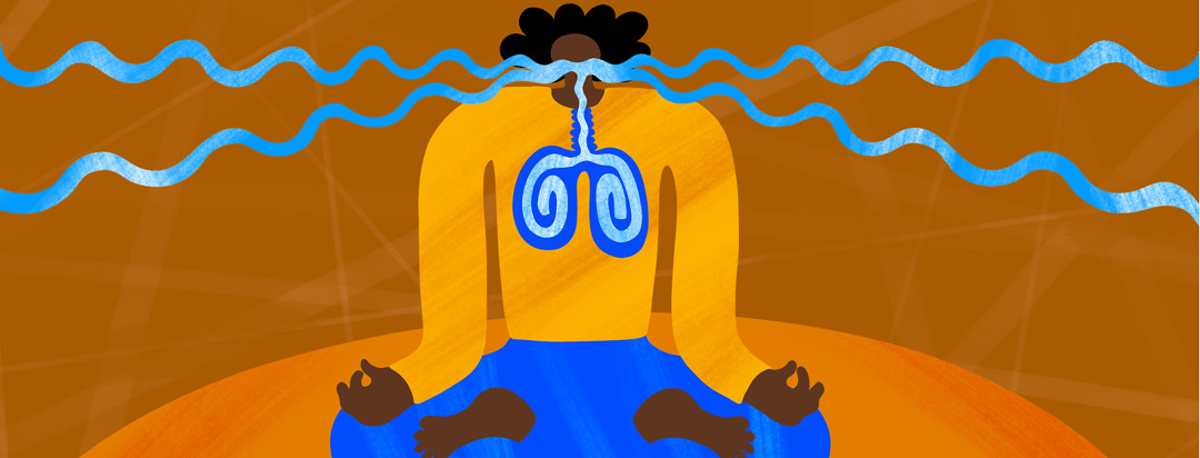 A woman with lupus sits in a meditating position with squiggly airwaves making their way to her mouth then into her lungs.