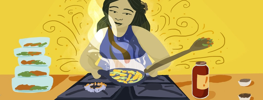 A woman with lupus cooking semi-homemade meals to freeze.