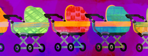 A lineup of colorful of baby carriages