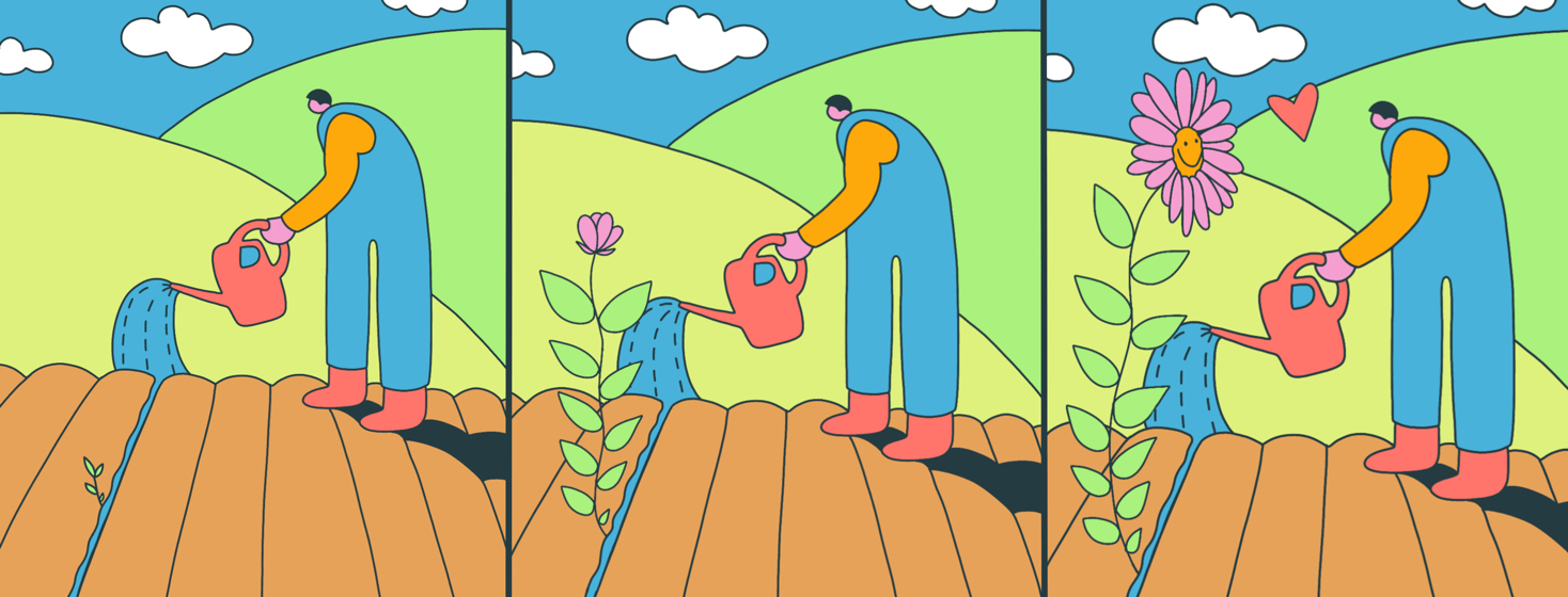 Three panels showing the growth of a flower as a farmer waters it, the final panel showing the flower happy and a heart between the two of them.