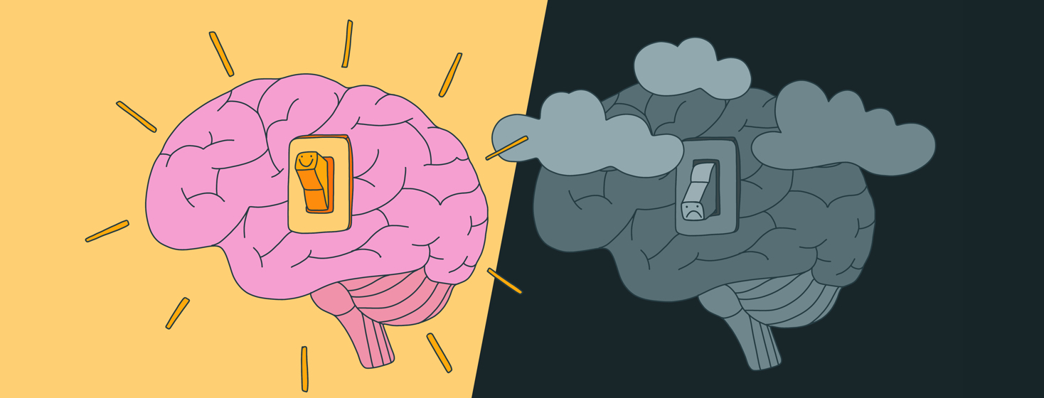 Two brains are shown with light switches on them. One is turned on and vibrant, the other is turned off, dark, and cloudy.