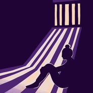 Woman sits in a dark room with a barred window as the light cascades in to reveal her silhouette.