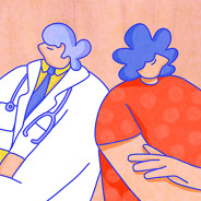 Doctor and patient stand back to back to each other, arms folded