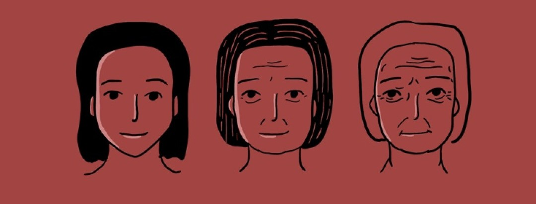 Three versions of a woman as a young adult, adult, and senior.