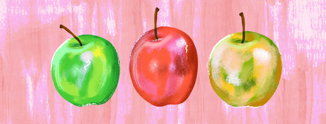Three apples, one green, one red, and one yellow.