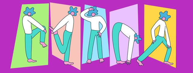 A woman with lupus in various stretching poses.