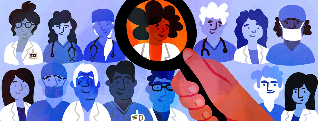 A person scans a magnifying glass over various pictures of doctors.
