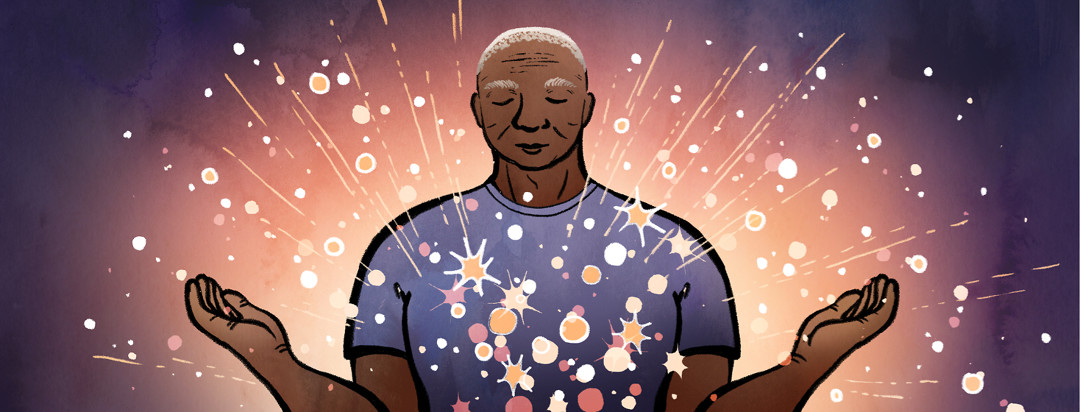 As a man with lupus meditates, bright stars emerge from his body in an outpouring of relaxation.