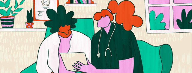 A patient consults a rheumatologist doctor in office, and hands them a paper with all of their symptoms to go over together.