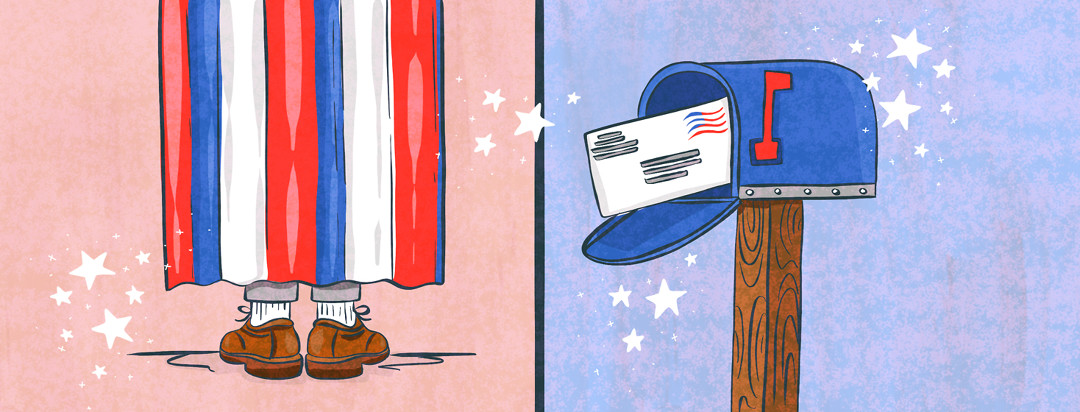 A two panel view of someone behind a curtain voting, and a mailbox with a ballot going into it.