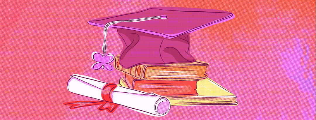 A graduation cap sitting on a stack of books with a diploma, and a tassle showing a lupus butterfly charm on the end of it.