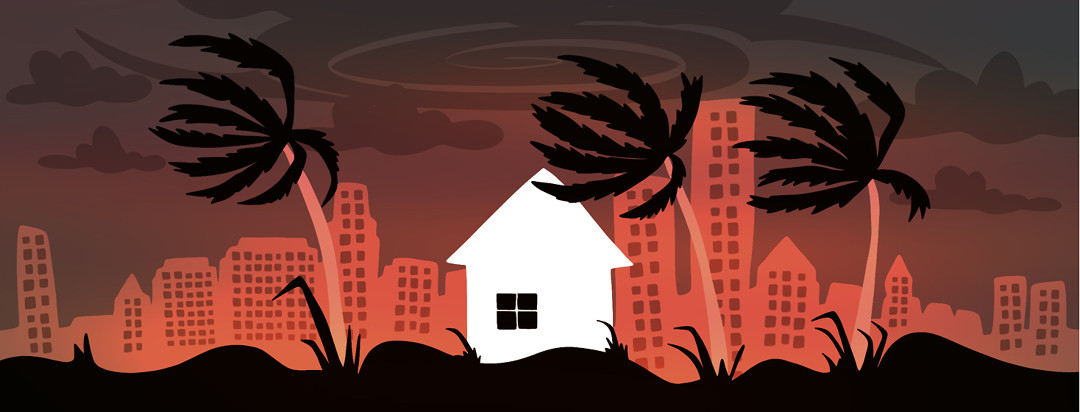 A house is shown against a city backdrop with all dark windows and a hurricane circling overhead, blowing the palm trees forcefully.