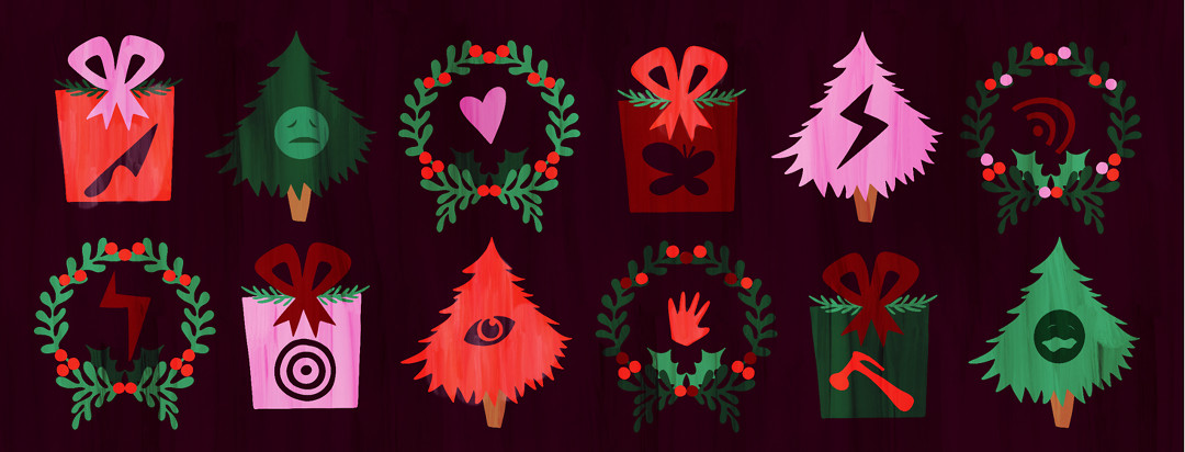 12 holiday symbols are shown including trees, wreaths, and presents with different pain symbols within them.