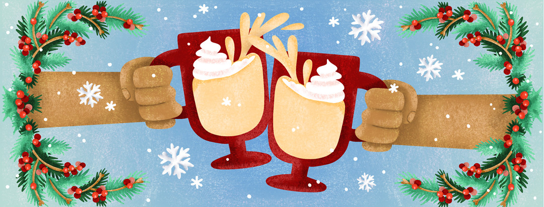 Two people clinking mugs filled with eggnog together with festive holiday garland and snowflakes surrounding the frame.