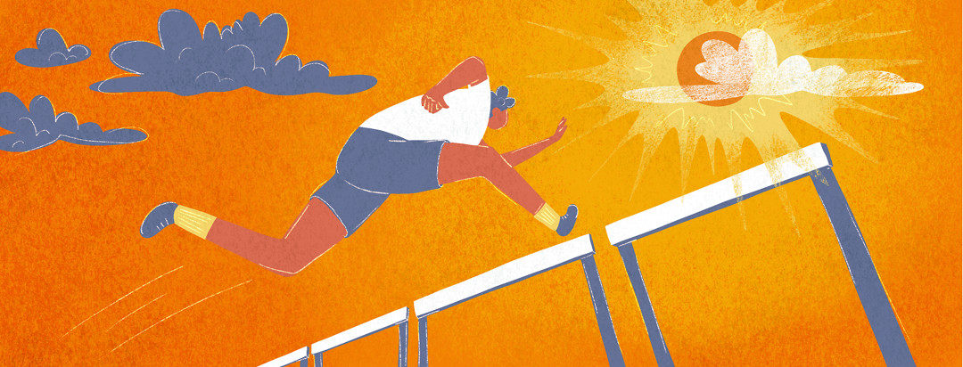 A man with lupus jumps over a hurdle as the sky turns from dark clouds to a bright sun.