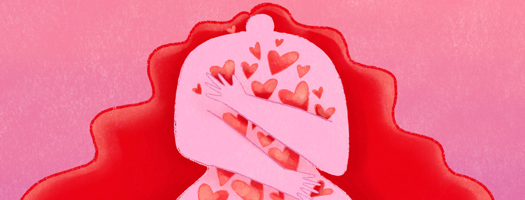 A woman with lupus embraces a flurry of heart against her body.