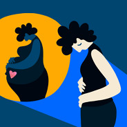 A woman clutches at her empty womb as an image of a woman expecting is backlit behind her.