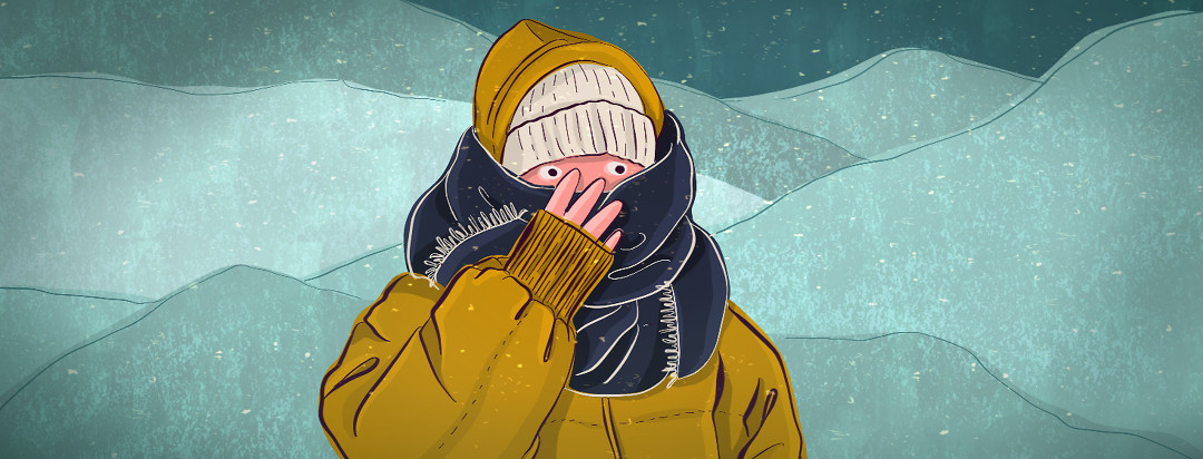 A person bundled up in winter weather gear clutches their scarf, revealing only their wide eyes.