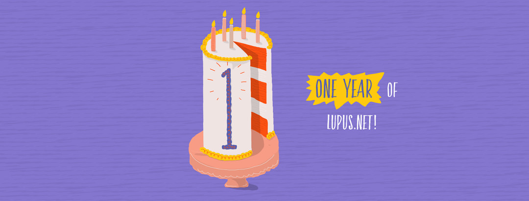 """A tall layer cake with candles and a large """"1"""" written in icing on the side. Text beside the cake reads """"One Year of Lupus.net!"""""""