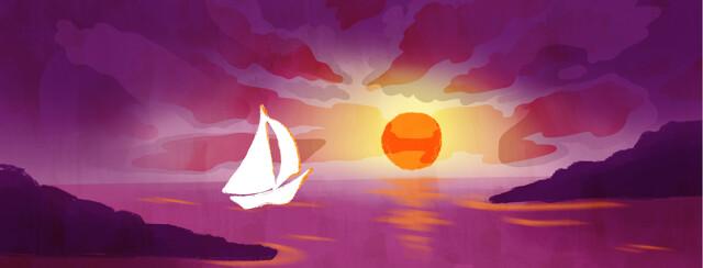 A sailboat heads towards a rising sun.