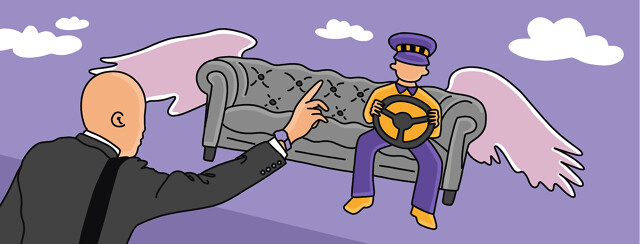 A taxi driver sitting on a flying couch steers the couch to a man hailing the cab from below.