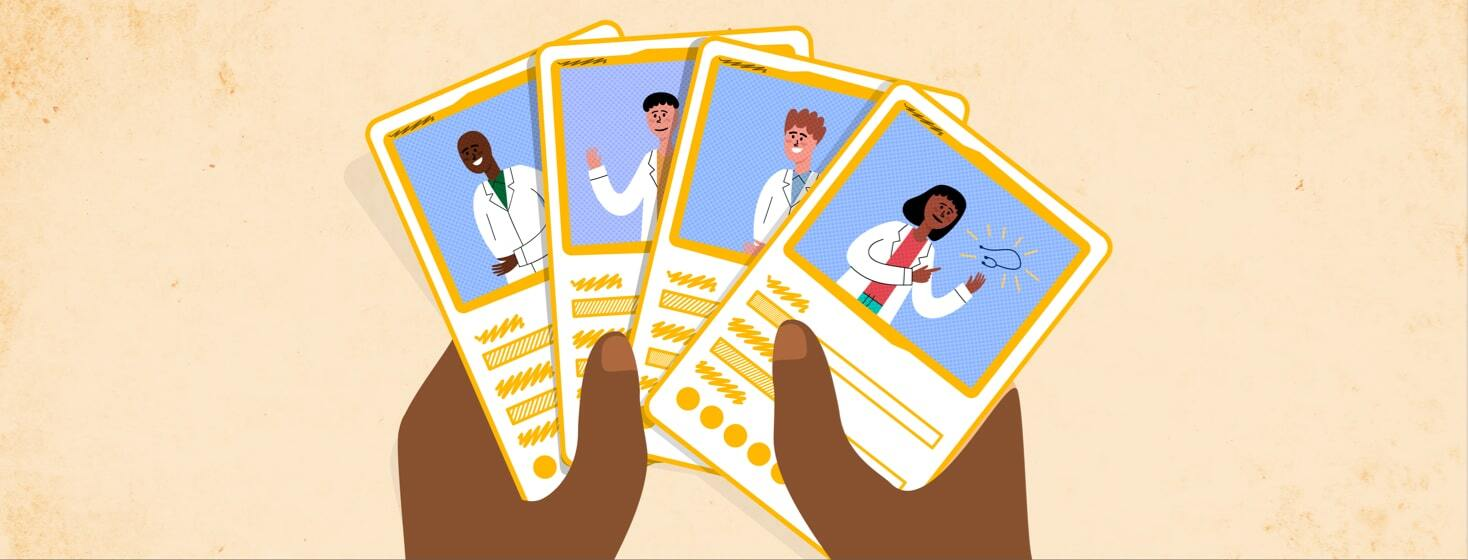 stat cards of different doctors
