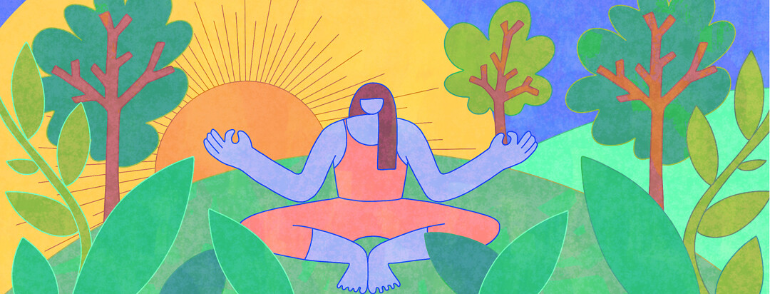 A woman meditating outside with a rising sun and lush trees and greenery around.