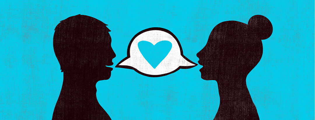 Two people are talking to each other with their dialogue bubble containing a blue heart.