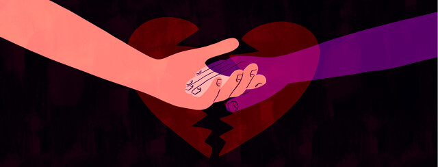 A hand reaches out to hold one that is slowly disappearing with a broken heart in the background.