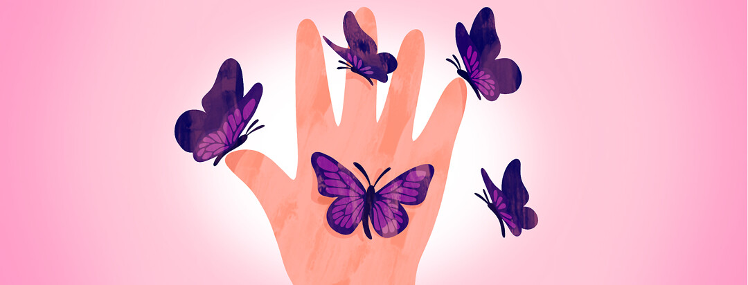 A hand with five fingers outstretched and five purple butterflies flying around and landing on each one.